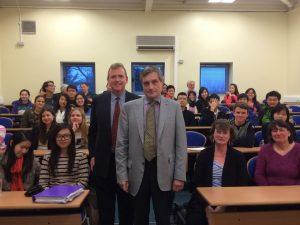 Professor Coker (centre) pictiured with Government and Politics Tutor David O'Dwye