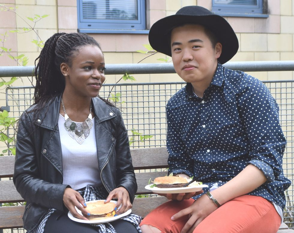 Students at end of year barbeque