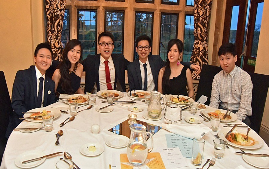 Group-of students at dinner